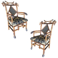 Rare 19th Century Aesthetic Movement Bamboo Salon Chair, Pair