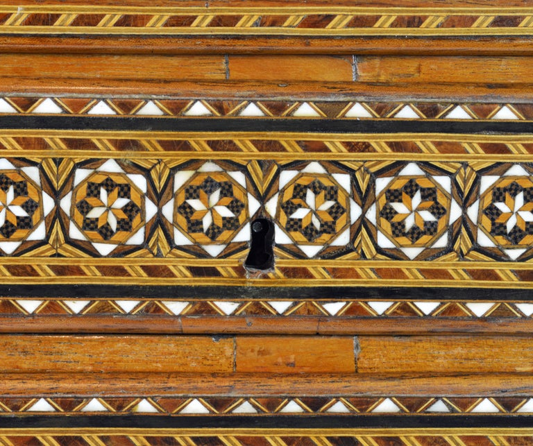 Rare 19th Century Anglo-Indian Bone Inlaid Miniature Slant Front Desk For Sale 5