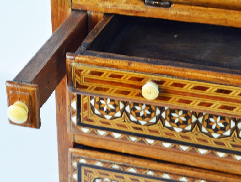 Rare 19th Century Anglo-Indian Bone Inlaid Miniature Slant Front Desk For Sale 7