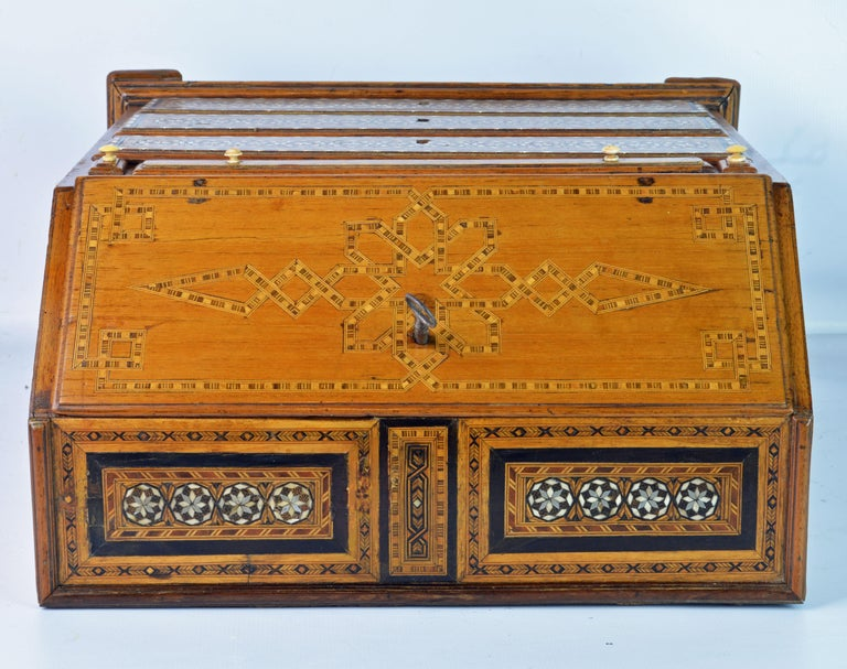 Rare 19th Century Anglo-Indian Bone Inlaid Miniature Slant Front Desk For Sale 9