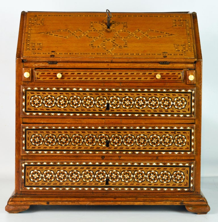 Inlay Rare 19th Century Anglo-Indian Bone Inlaid Miniature Slant Front Desk For Sale