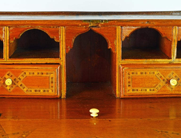 Rare 19th Century Anglo-Indian Bone Inlaid Miniature Slant Front Desk For Sale 2