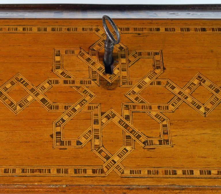 Rare 19th Century Anglo-Indian Bone Inlaid Miniature Slant Front Desk For Sale 4