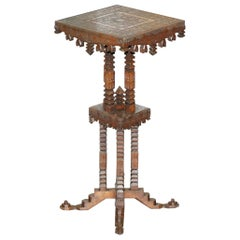 Rare 19th Century Anglo Indian Hand Carved Teak Side End Table Jardinière Stand