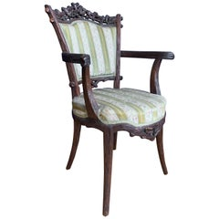 Rare 19th Century Black Forest Nutwood Armchair by Horrix with Classy Upholstery