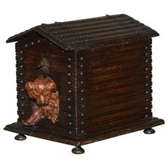 Rare 19th Century Black Forest Wood Cigar Box Humidor with Angry Dog Kennel