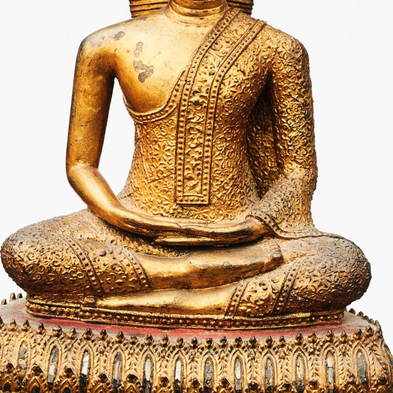 Other Rare 19th Century Bronze Naga Buddha Statue For Sale