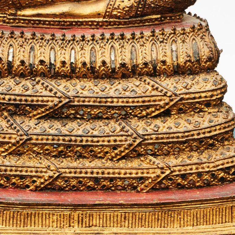 Thai Rare 19th Century Bronze Naga Buddha Statue For Sale