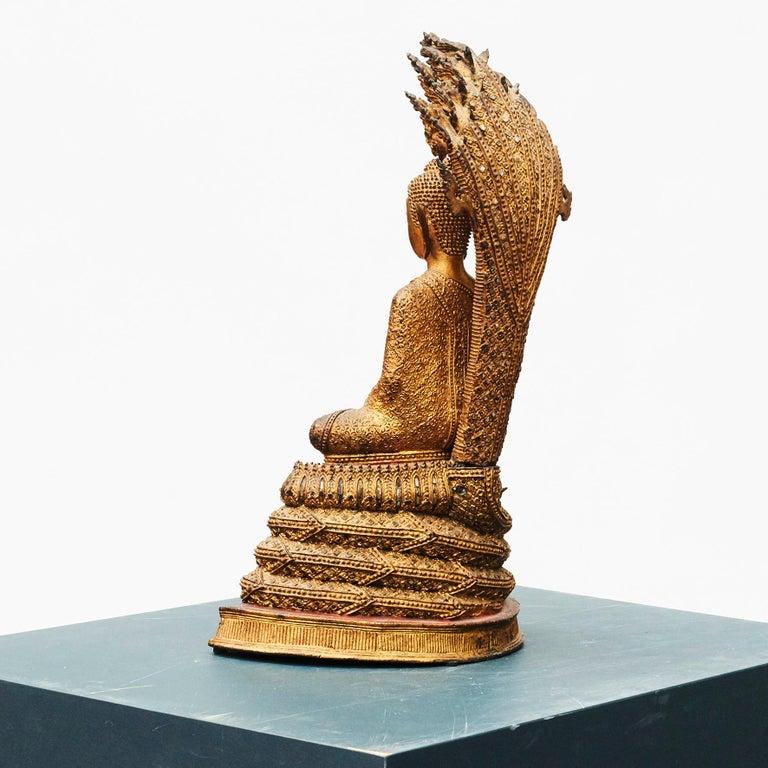 Rare 19th Century Bronze Naga Buddha Statue For Sale 2