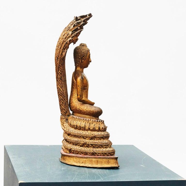 Rare 19th Century Bronze Naga Buddha Statue For Sale 3