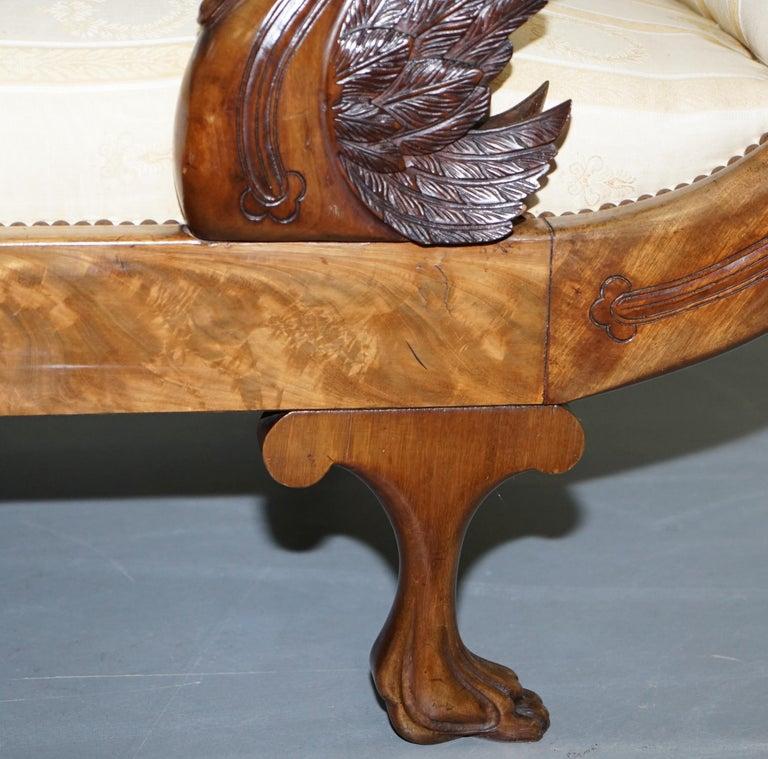 Rare 19th Century Burr Walnut & Bronze Ormolu Carved Empire Swan Chaise Lounge For Sale 4