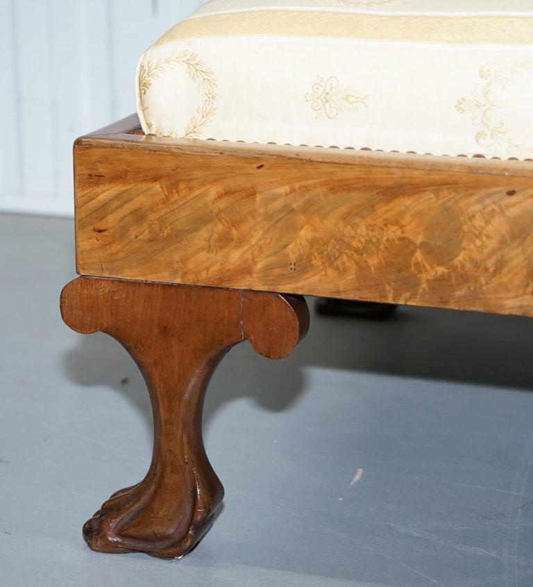 Rare 19th Century Burr Walnut & Bronze Ormolu Carved Empire Swan Chaise Lounge For Sale 5
