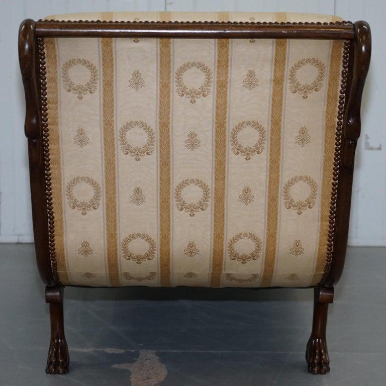 Rare 19th Century Burr Walnut & Bronze Ormolu Carved Empire Swan Chaise Lounge For Sale 6