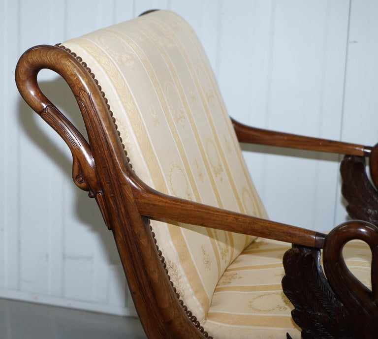 Rare 19th Century Burr Walnut & Bronze Ormolu Carved Empire Swan Chaise Lounge For Sale 8