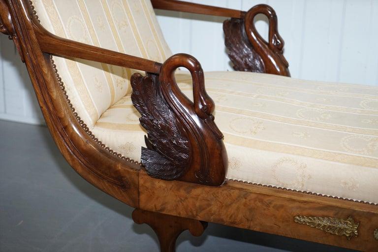 Rare 19th Century Burr Walnut & Bronze Ormolu Carved Empire Swan Chaise Lounge For Sale 9