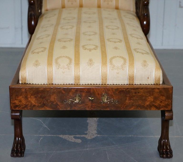 Rare 19th Century Burr Walnut & Bronze Ormolu Carved Empire Swan Chaise Lounge For Sale 10