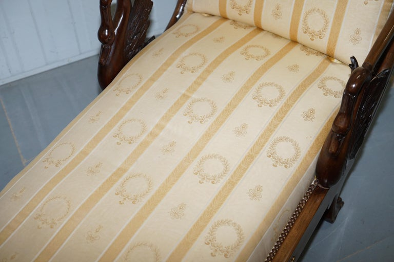 Upholstery Rare 19th Century Burr Walnut & Bronze Ormolu Carved Empire Swan Chaise Lounge For Sale