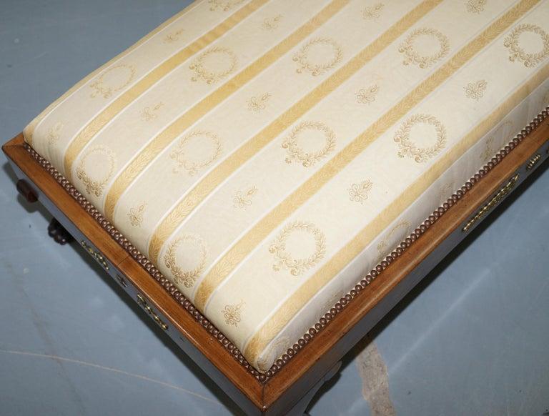 Rare 19th Century Burr Walnut & Bronze Ormolu Carved Empire Swan Chaise Lounge For Sale 1