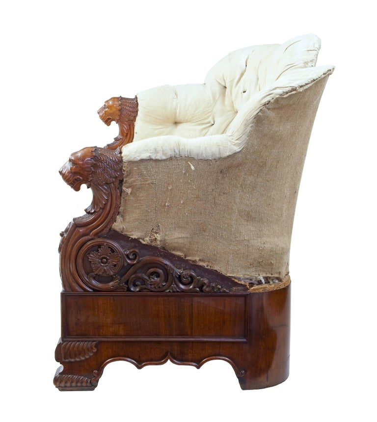 Gothic Rare 19th Century Carved Walnut and Mahogany Button Back Sofa For Sale