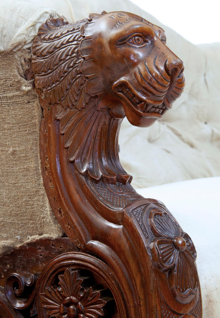 Rare 19th Century Carved Walnut and Mahogany Button Back Sofa For Sale 1