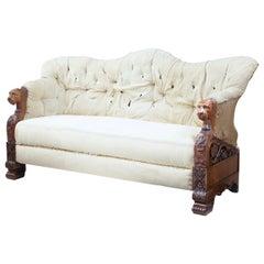 Rare 19th Century Carved Walnut and Mahogany Button Back Sofa