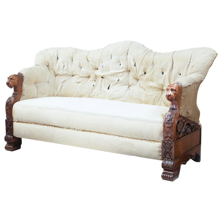 Rare 19th Century Carved Walnut and Mahogany Button Back Sofa For Sale