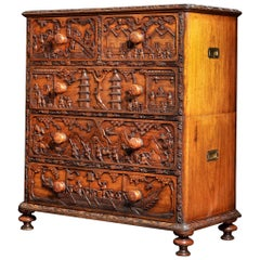 Rare 19th Century Carved Wood Padouk Chinese Campaign Chest