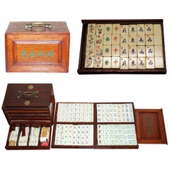 Rare 19th Century Chinese Mahjong Set in Carry Case Made with Bovine & Bambo
