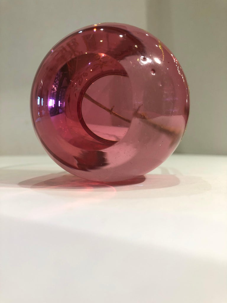 Rare 19th Century French Antique Cranberry Glass Pocket Watch Holder For Sale 5