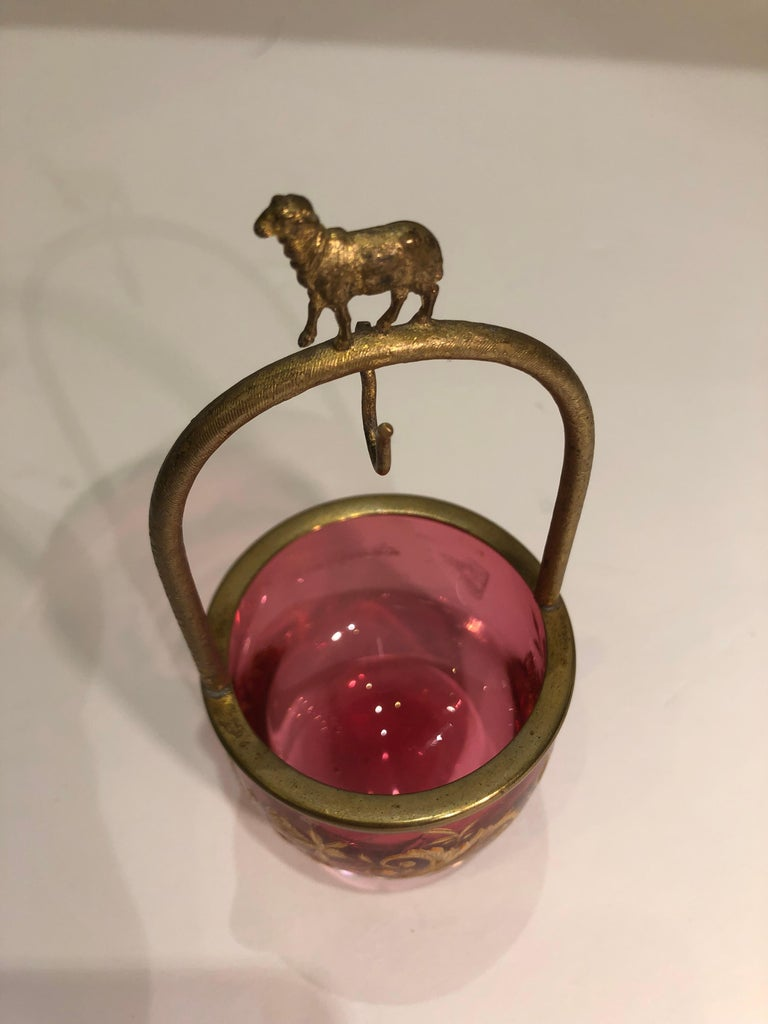 Rare 19th Century French Antique Cranberry Glass Pocket Watch Holder For Sale 1