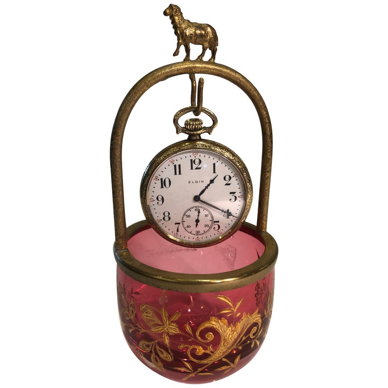 Rare 19th Century French Antique Cranberry Glass Pocket Watch Holder For Sale