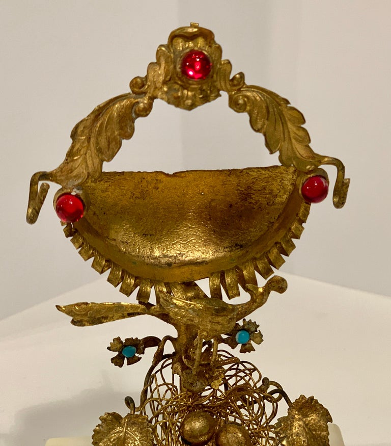 Rare 19th Century French Antique Peacock's Nest Pocket Watch Holder Porte Montre For Sale 5