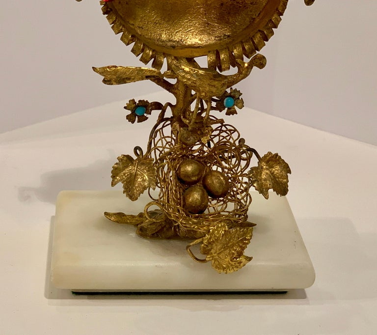 Rare 19th Century French Antique Peacock's Nest Pocket Watch Holder Porte Montre For Sale 4