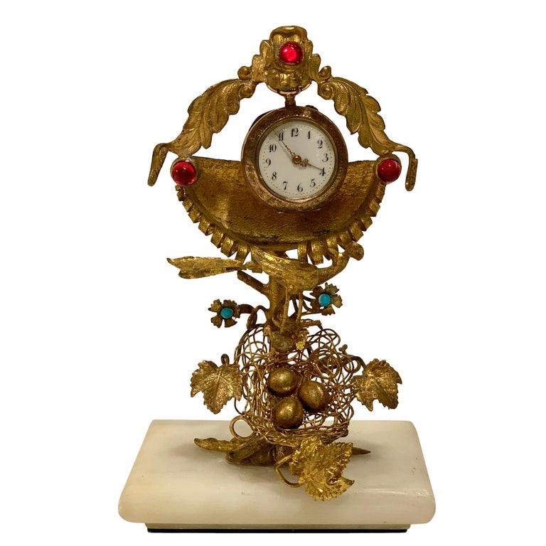Rare 19th Century French Antique Peacock's Nest Pocket Watch Holder Porte Montre For Sale