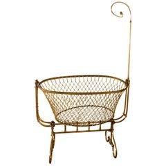 Rare 19th Century French Brass Swinging, Rocking Crib