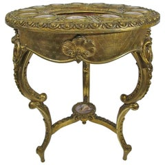 Rare 19th Century French Serve's Porcelain Topped and Gilt Carved Salon Table