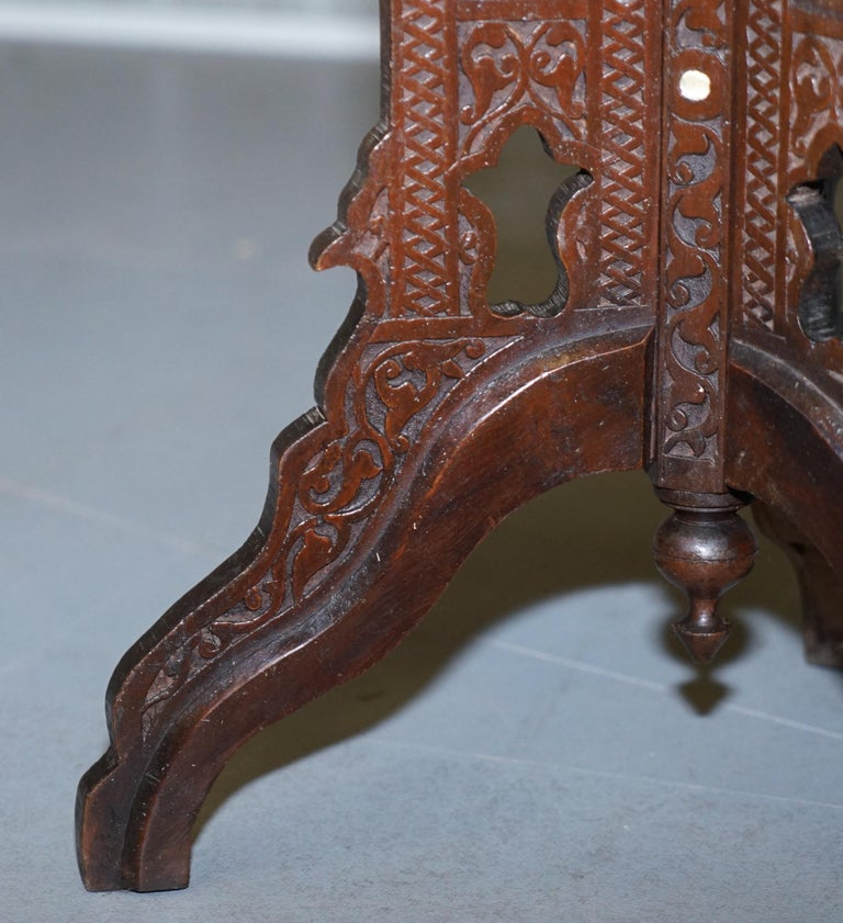 Rare 19th Century Hand Carved Liberty's London Moorish Side End Lamp Wine Table For Sale 5