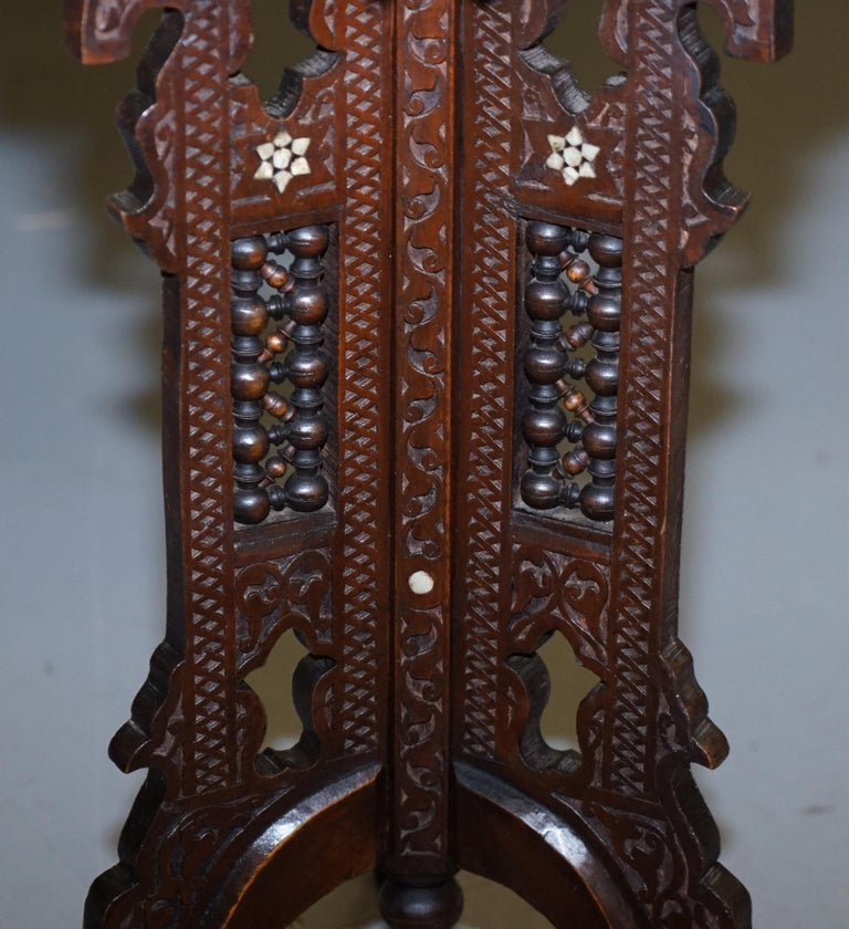 Rare 19th Century Hand Carved Liberty's London Moorish Side End Lamp Wine Table For Sale 6