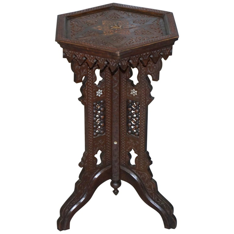 Rare 19th Century Hand Carved Liberty's London Moorish Side End Lamp Wine Table For Sale