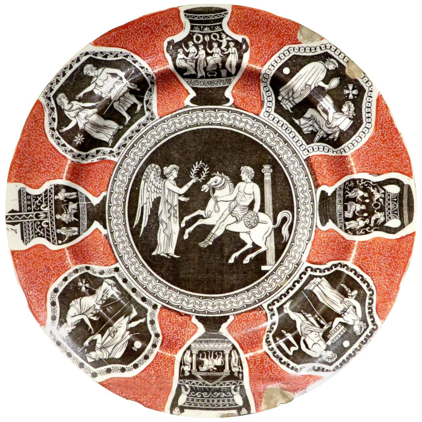 Rare 19th Century Herculaneum Pottery 'Greek Pattern' Cabinet Plate, Circa 1805