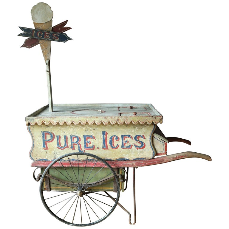 Rare 19th Century Ice Cream Cart For Sale