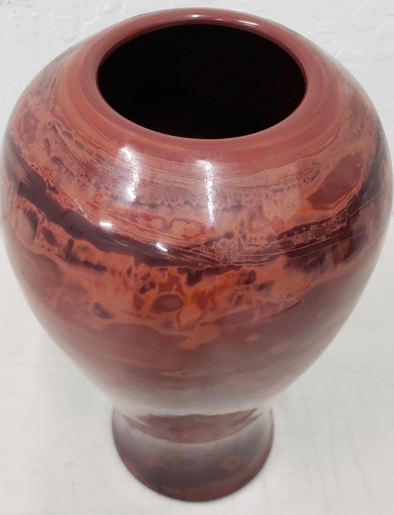 Hand-Crafted Rare 19th Century Large Chinese Realgar Peking Glass Meiping Vase For Sale