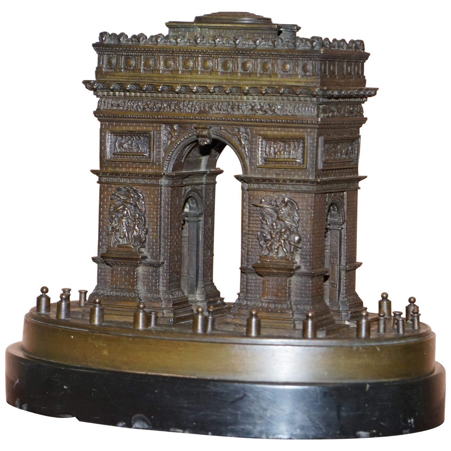 Rare 19th Century Leblanc Freres Grand Tour Bronze Statue of the Arc De Triomph