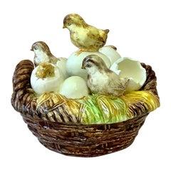Rare 19th Century Majolica Chicks with Eggs Basket Delphin Massier