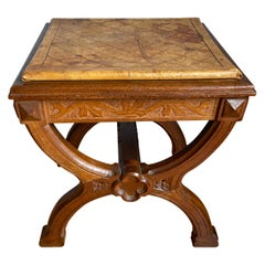 Rare 19th Century Oak Gothic Revival End Table or Coffee Table w. Leather Top