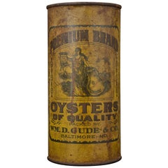 Rare 19th Century Oyster Can WM.D. Gude & Company Quart Baltimore Chesapeake Bay