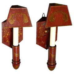 Rare 19th Century Pair of Empire Red Tôle Corner Wall Lights