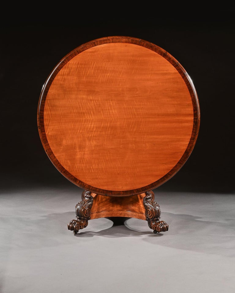 Italian Rare 19th Century Peters of Genoa Satinwood & Rosewood Centre Table For Sale