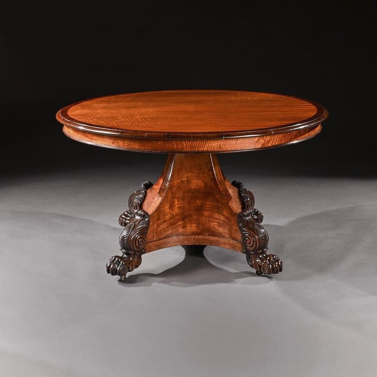 Rare 19th Century Peters of Genoa Satinwood & Rosewood Centre Table For Sale 1
