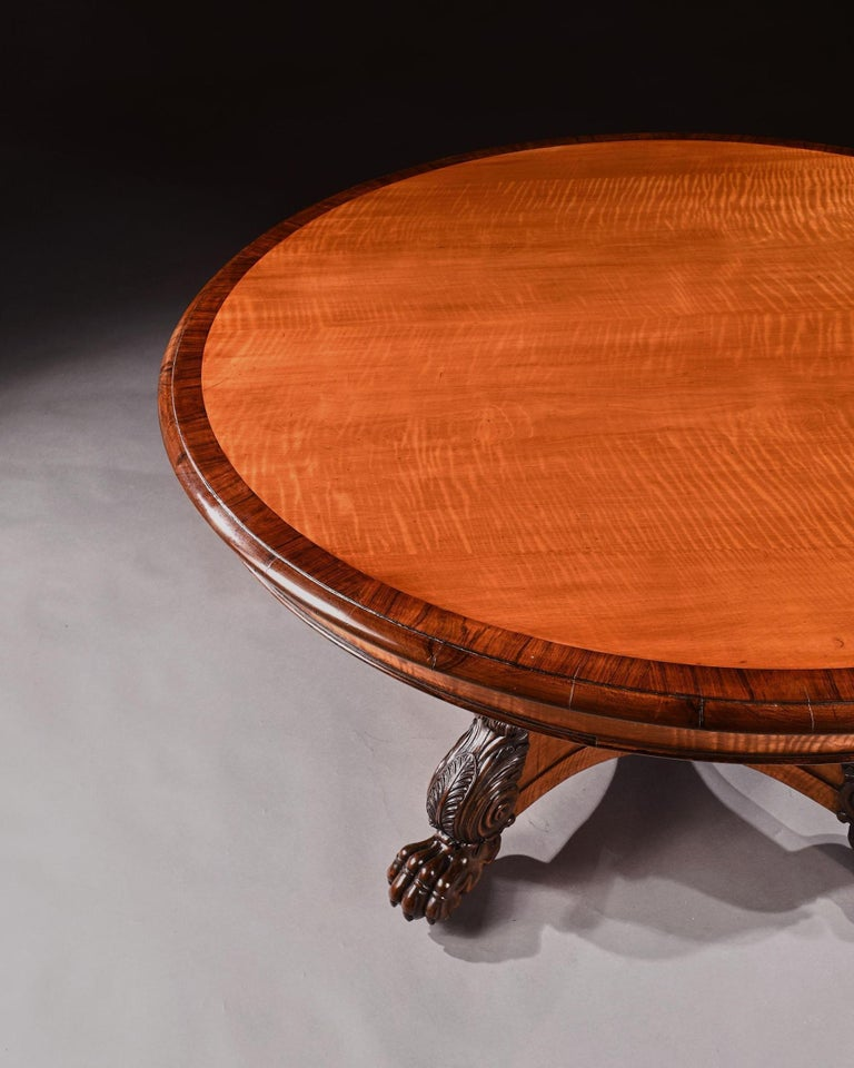 Rare 19th Century Peters of Genoa Satinwood & Rosewood Centre Table For Sale 3